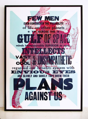 jeff wayne, war of the worlds, benefits scroungers, space, richard burton, wrestling, wood type, letterpress, poster, laser cut, typography