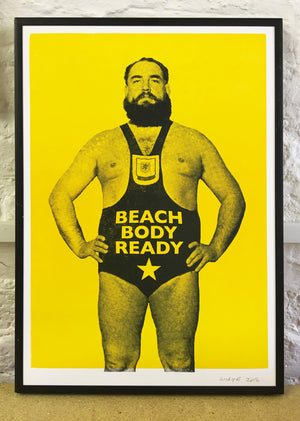 beach body ready, letterpress, wrestling print, wrestler