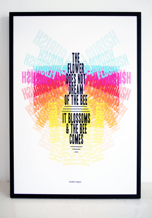 mark nepo, typography, bees, wall art, finding, seeking, blossom, flourish