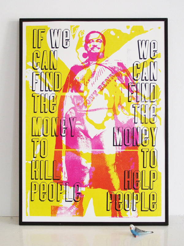 tony benn quote, wrestling,1960's wrestler, labour party, help people, activism, activism, political poster, election 2015, letterpress print, poster, art print, over printing, laser cut type, typography