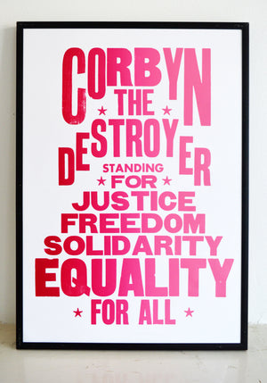 jeremy corbyn, corbyn poster, labour party, leader, left wing, election 2019, corbyn4leader, letterpress poster, art print