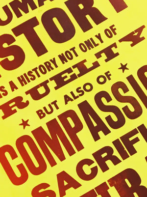 courage, kindness, compassion, sacrifice, history, world, print, letterpress, howard zinn, message of hope