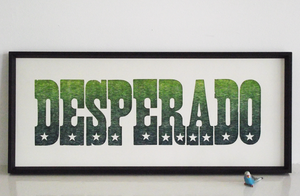 desperado, eagles song, eagles poster, laser cut letters, letterpress, print, stars