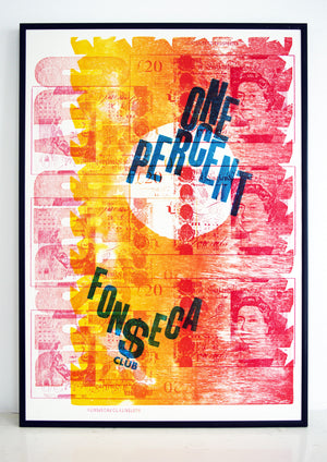 Panama papers, 1%, mossack fonseco, letterpress print, desperado, money, split fountain, 99%