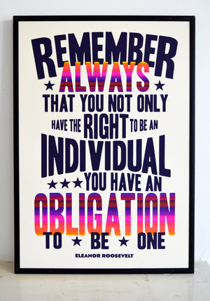 eleanor roosevelt quote, individuals, authenticity, typography, printmaking