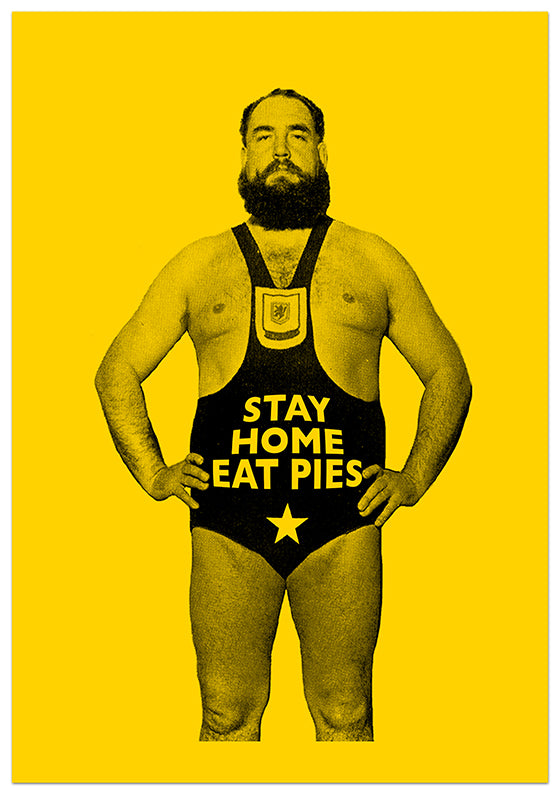 Stay Home. Eat Pies . Send them to your friends and family all over the world...  Sold as a set of 10.  A6 size on 400gsm heavyweight board.