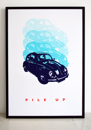 wall art, car print, top gear, vw, beetle print, vw poster