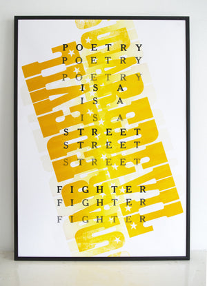 david white quote, street fighter, poetry, daredevil, letterpress, yellow
