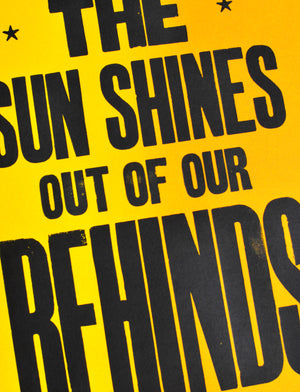 teh sun shines out of our behinds poster, letterpress print, letterpress poster, hastings, typography, type porn