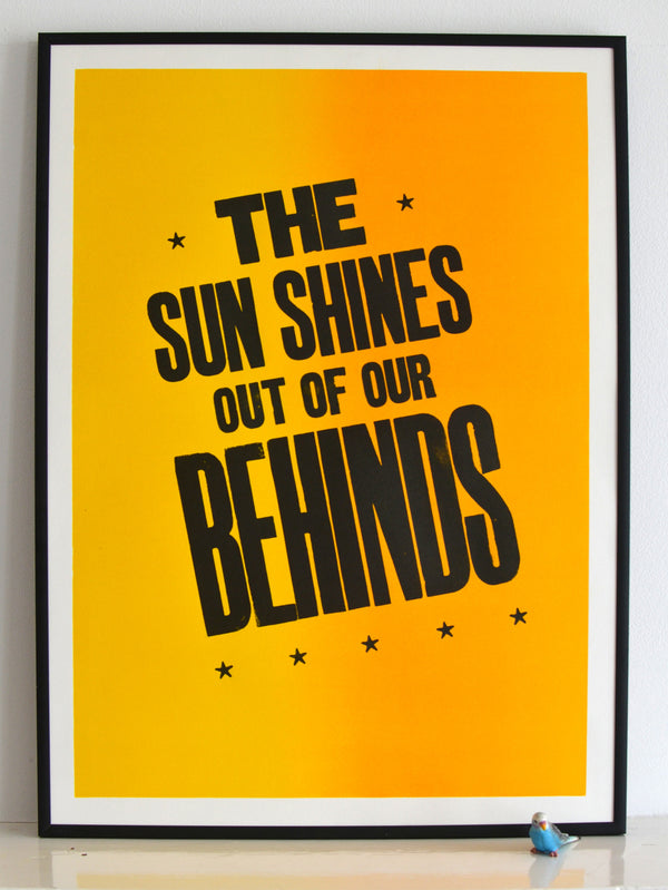 sunshine print, morrissey quote, smiths lyric print, splitfountian, vandercook, yellow, mozarmy
