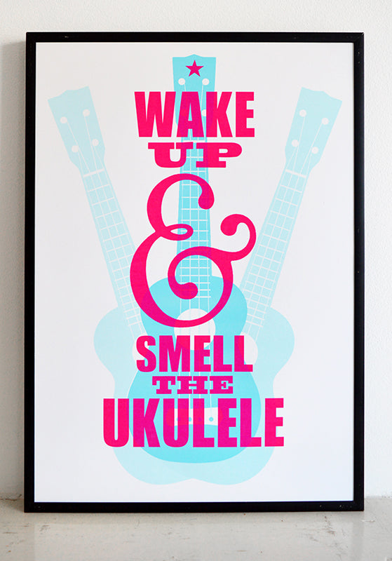 Wake up and smell the ukulele. Inspired by the memory of a birthday long long ago when I woke up to a plate of hot jam tarts & a ukulele.  Signed, dated, open edition A3 giclee print on 220gsm paper.