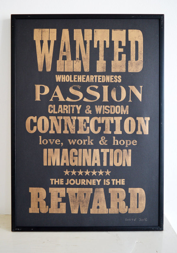 wanted poster, reward print, connection, passion, imagination, letterpress