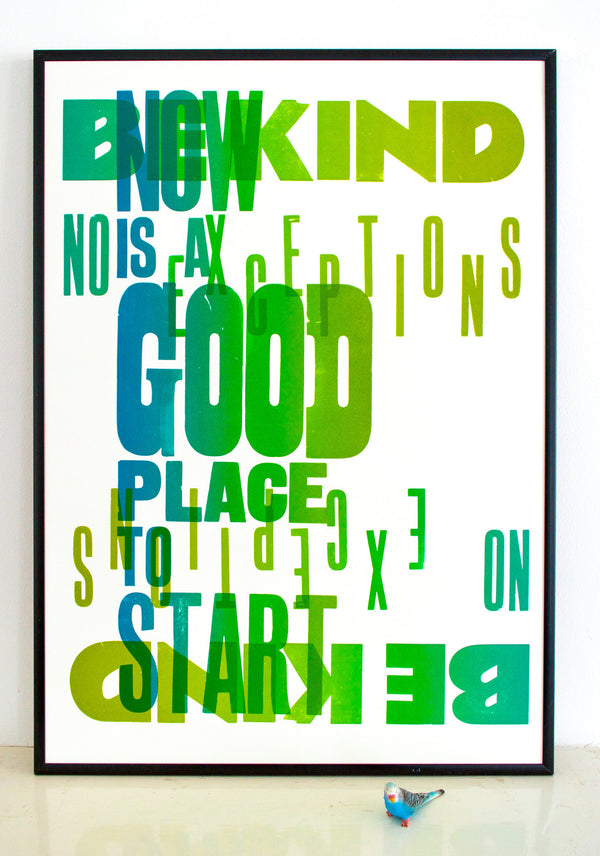 be kind, start now, resolutions, print
