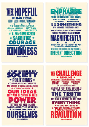 Howard Zinn quotes in a postcard format. Send them to your friends and family all over the world...  Sold as a set of 8.   A6 size on 400gsm heavyweight board.