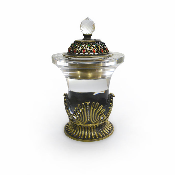 Luxury Crystal Antique Gold Bakhoor Burner - Al Haramain Perfumes