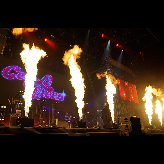 Festival stage flames