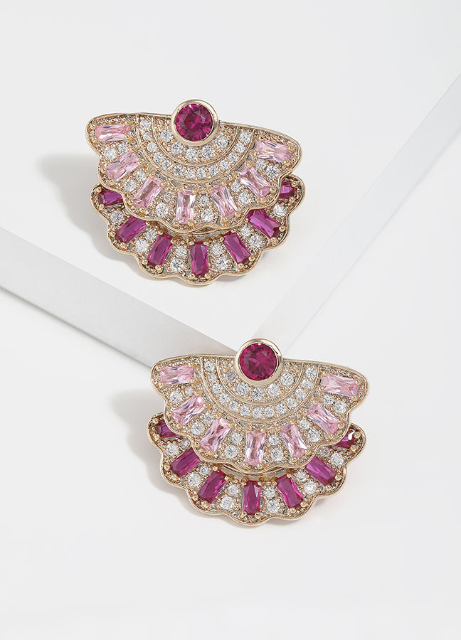 Marie Fan-Shaped Pave Stud Earrings