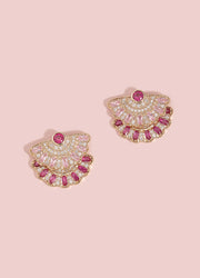 Pink Crystal Pave Stud Earrings For Women