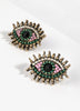 Jewel-toned glass beaded studs earrings with an Evil Eye design