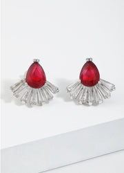 Red Crystal Stud Earrings For Women
