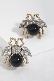 Black Pearl Bee Stud Earrings For Women