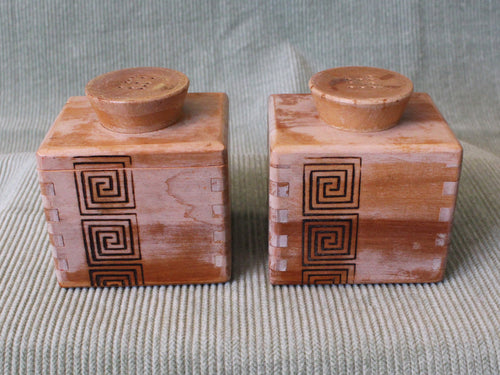 Wooden Box-Vintage Salt & Pepper Shakers