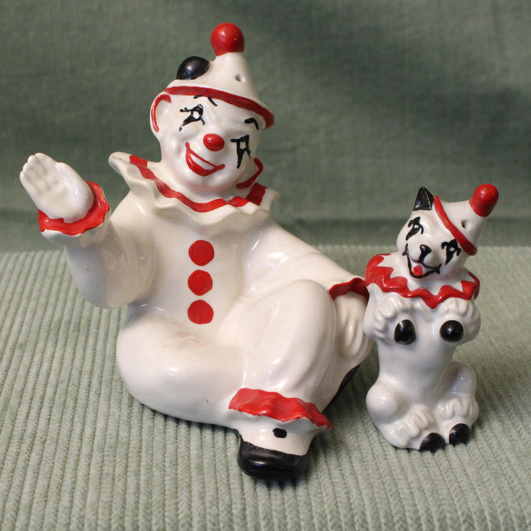 Clown and Circus Dog-Vintage Salt & Pepper Shakers