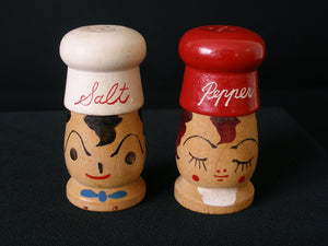 Wooden Chefs -Vintage Salt & Pepper Shakers