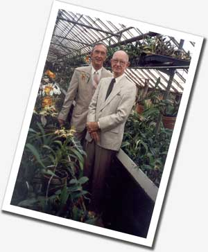 Bill and Owen in the greenhouse
