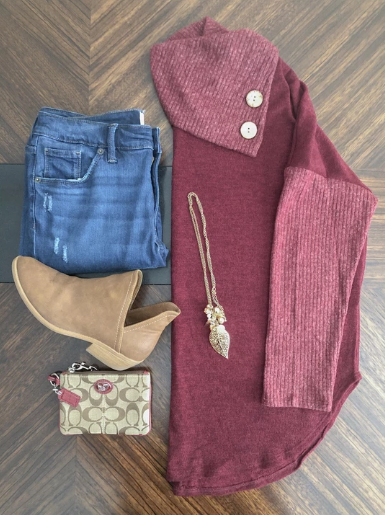 Maroon Cowl Neck Sweater At Kate & Audrey Online Boutiques