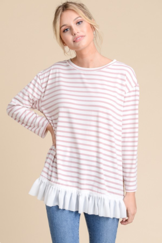 Mauve Striped Blouse At Our Online Boutique Store