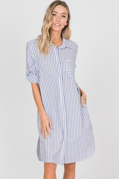 Blue Striped Midi Dress At Our Online Boutique Store