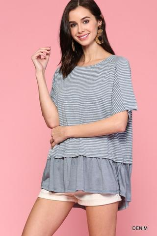 Denim Colored Round Neck Tee At Our Online Boutique Store