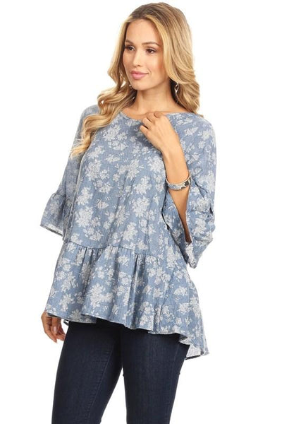 Powder Blue Floral Print Top At Our Online Boutique Store