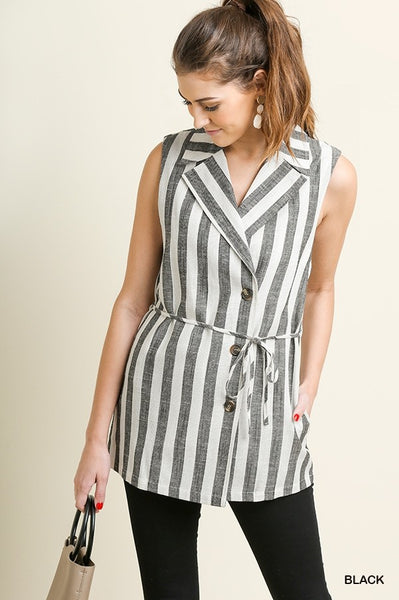 Black & White Striped Vest At Our Online Boutique Store