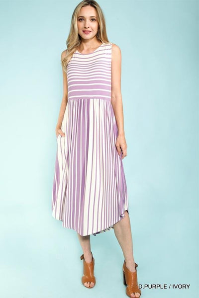 Purple & White Midi Dress At Our Online Boutique Store