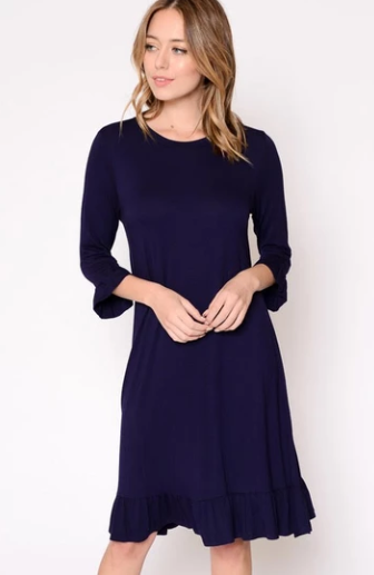 Elegant Navy Midi Dress At Our Online Boutiques