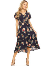 Load image into Gallery viewer, Navy Floral Midi Dress