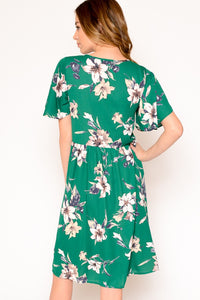 Green Floral Round Neck Dress