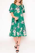 Load image into Gallery viewer, Green Floral Round Neck Dress