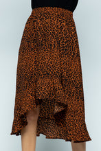 Load image into Gallery viewer, Leopard Printed Midi Skirt Ruffle