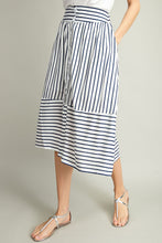 Load image into Gallery viewer, White & Navy Midi Skirt