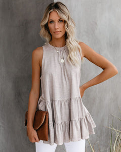 Beige Sleeveless Top