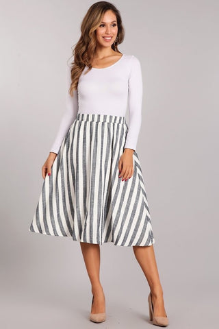 White & Navy Midi Skirt