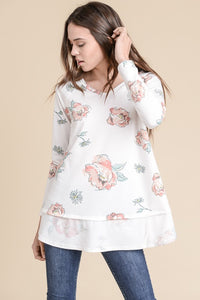 White Floral French Terry Top