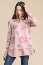 Load image into Gallery viewer, Pink Floral French Terry Top