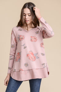 Pink Floral French Terry Top