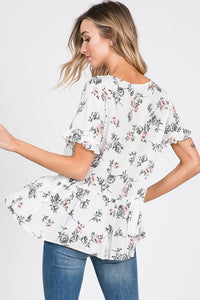 White Floral Ruffled Top With Buttons