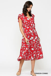 Red & White Floral Midi Dress