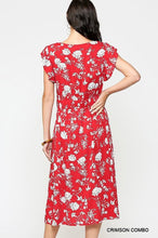 Load image into Gallery viewer, Red & White Floral Midi Dress